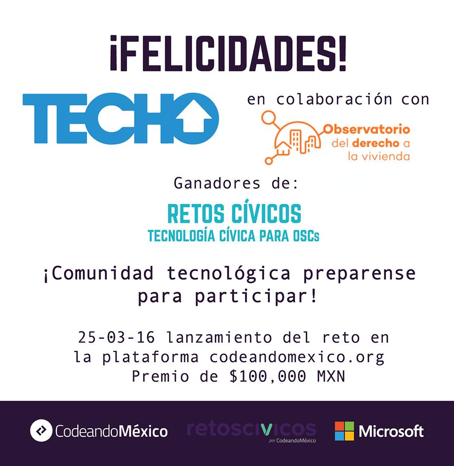 Ganadores junto a TECHO-MX de #RetosCívicos